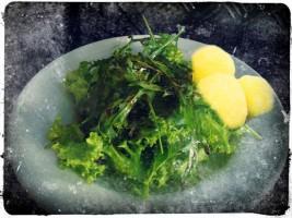 Salat und Knödel